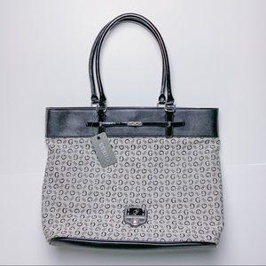 Guess Black Ingrid Logo Clasp Tote Bag NWT